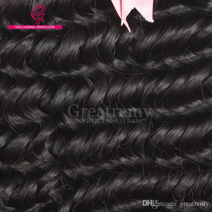 Greatreemy® / 깊은 웨이브 페루 처리되지 않은 인간의 머리카락 8-30 처녀 머리 확장 자연 색상 dropshipping