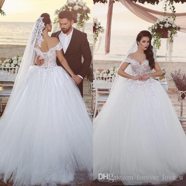 Arabic Big Ball Gown Wedding Dresses Off The Shoulder Nude Lined Top Romantic Lace Appliques Soft Tulle Puffy Bridal Gowns Corset Back Huge