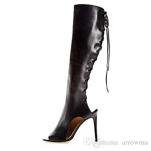 2016 Black Boots Lace Up Fashion Summer Style Ladies Party Shoes High Thin Heels Peep Toe Cheap Modest Boots For Womens New Arrive