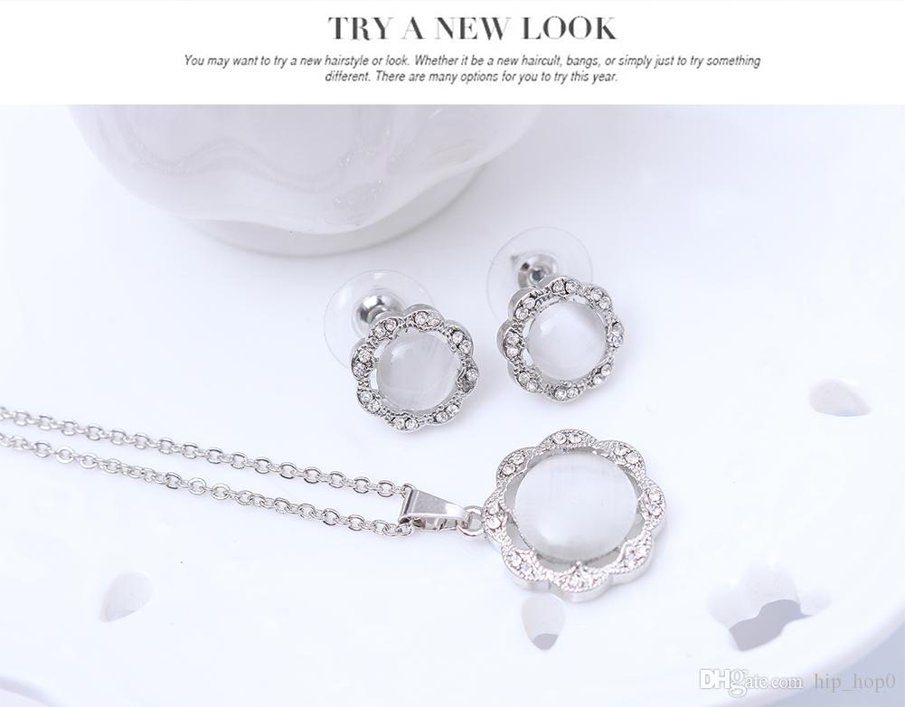 Pearl Diamante Crystal Jewelry Sets Alloy Imitation Rhodium Plated Necklace And Earring Present For Women 2016 Fashion