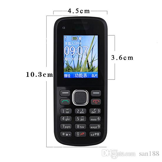 cheap bar phone Camera sim card 4 stand by 1.8 inch C1-02 cell phone with bluetooth camera FM radio with box