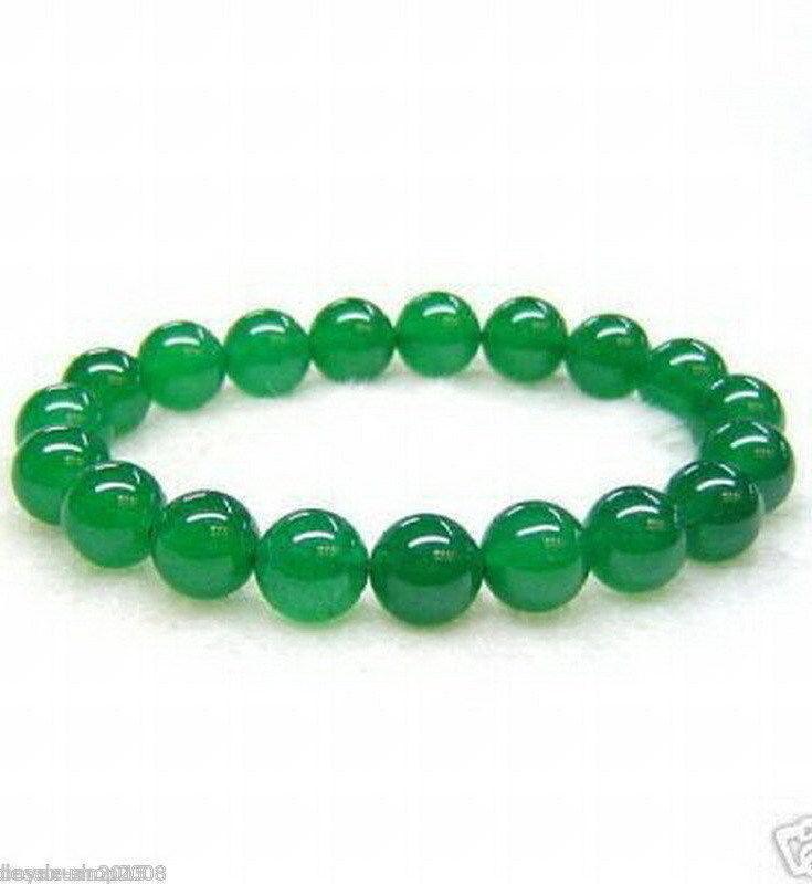정품 아시아 천연 녹색 옥 6mm-18mm 비즈 탄성 보석 팔찌