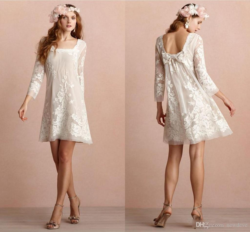 Mini Short Wedding Dresses Square Neckline Long Sleeves