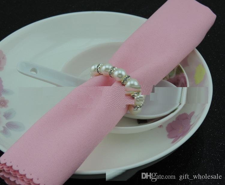 Yüksek Kalite Ücretsiz Kargo Ucuz Fiyat Elastik Beyaz İnciler Rhinestones Peçete Halkaları Düğün parti Aksesuarları toptan