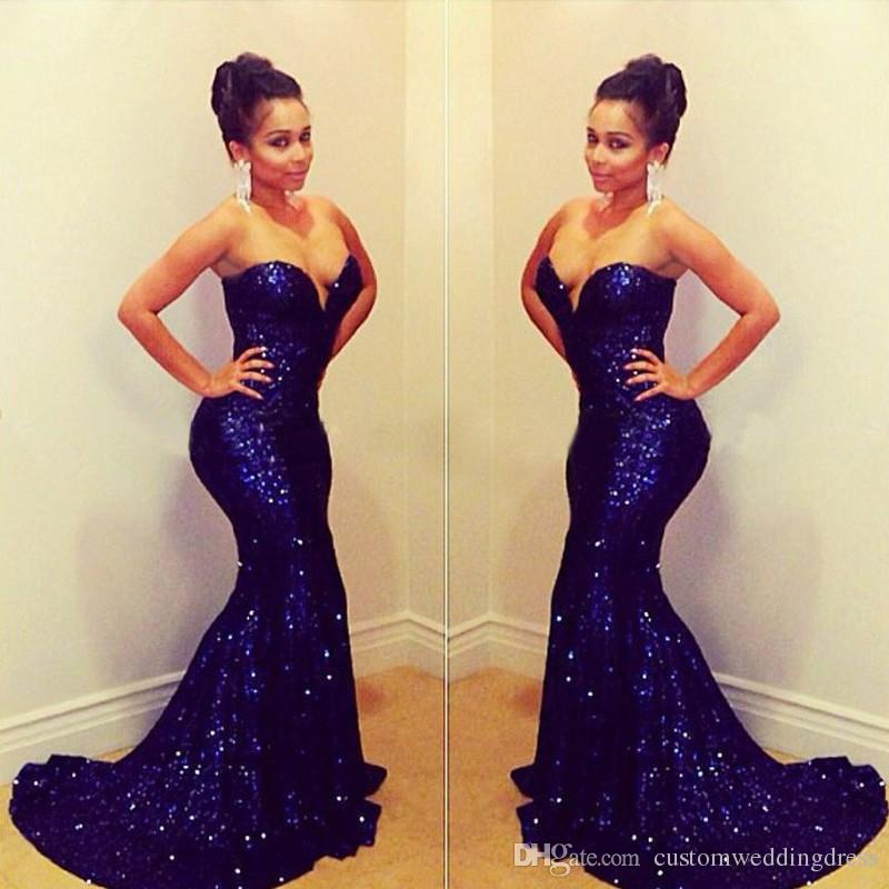 E5650 Fashion off the shoulder sweet heart floor length long sequin beaded royal blue mermaid prom dress