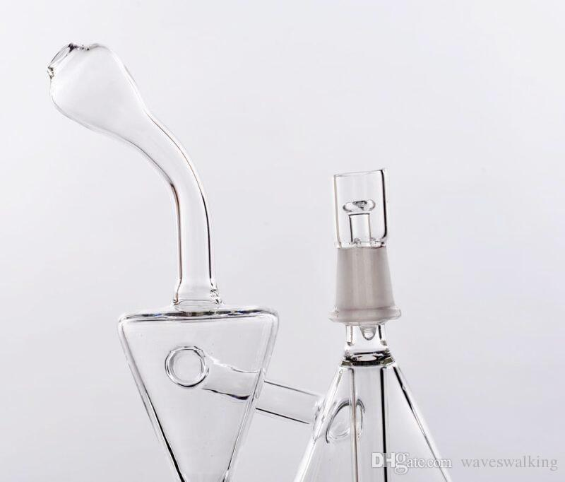 2019 New Mini Portable Bongs Pocket Glass Bongs Water Pipes with Inline Perc Recycle Clear Small Bongs Pipes