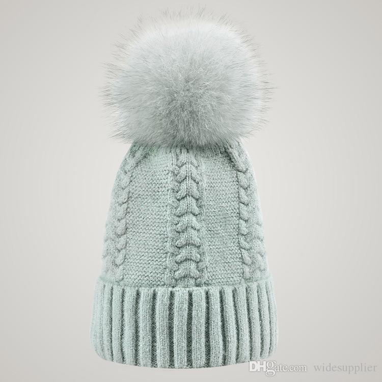 Winter Double twist Beanie Knitted Big Rabbit Hair Fur Pom Poms Hat Women Cap Headgear Headdress Head Warmer Top Quality