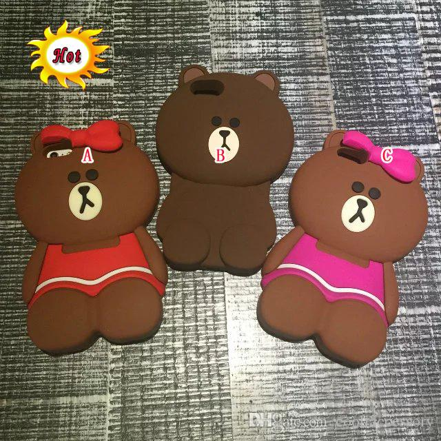 For Iphone SE 5 5S 6 6S Plus 5.5 4.7 I6S 3D Teddy Bear Silicone GEL Soft Rubber Case Cute Cartoon Bow Bowknot Animal Mobile Phone Skin Cover