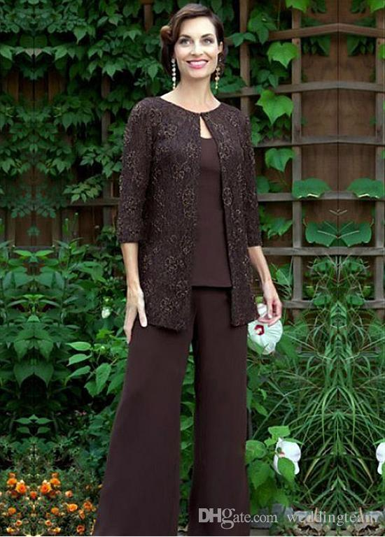 Elegant Brown Lace Mother Of The Bride Pant Suits With Jackets Jewel Neck Wedding Guest Dress Plus Size Cheap Chiffon Mothers Groom Dresses