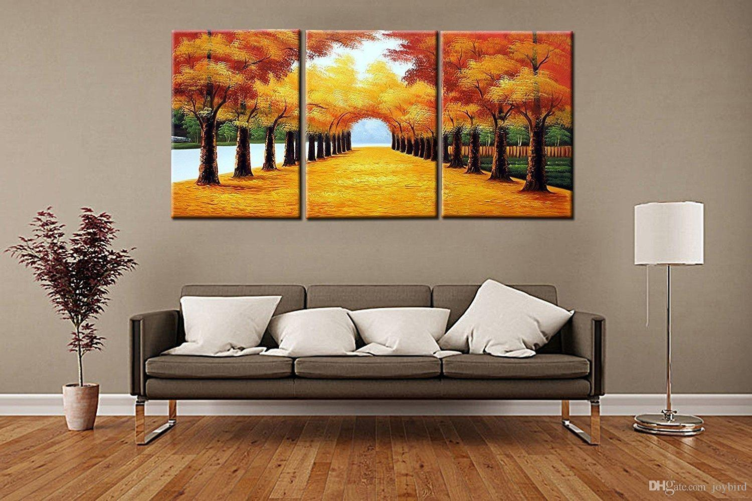 Super 2018 Landscape Painting Modern Wall Decor 3 Panel Handmade Canvas  UY05