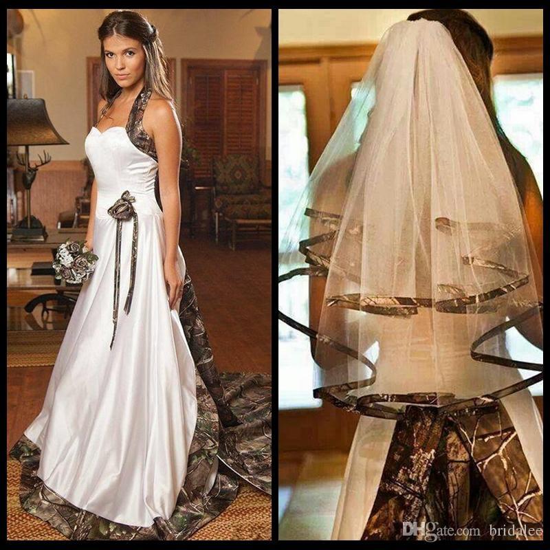 Moda Camuflagem Vestidos de Casamento 2017 Halter Uma Linha de Trem Da Varredura Camo Vestido De Noiva Sem Mangas de Cetim Branco Vestidos de Casamento 2016