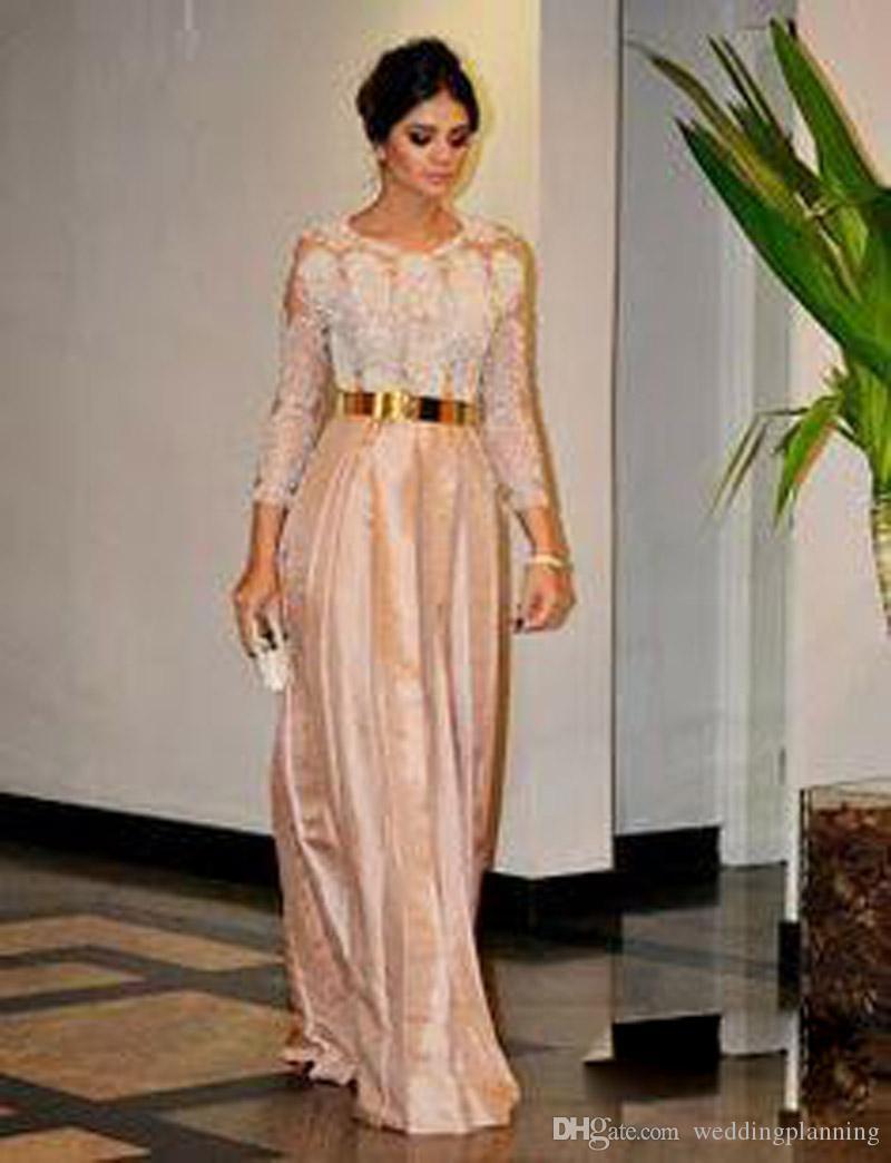 2017 madre della sposa vestito da sposo cintura dorata pizzo perline manica lunga cena vestito da promenade economici posteriore con cerniera taffettà abiti da sera del partito