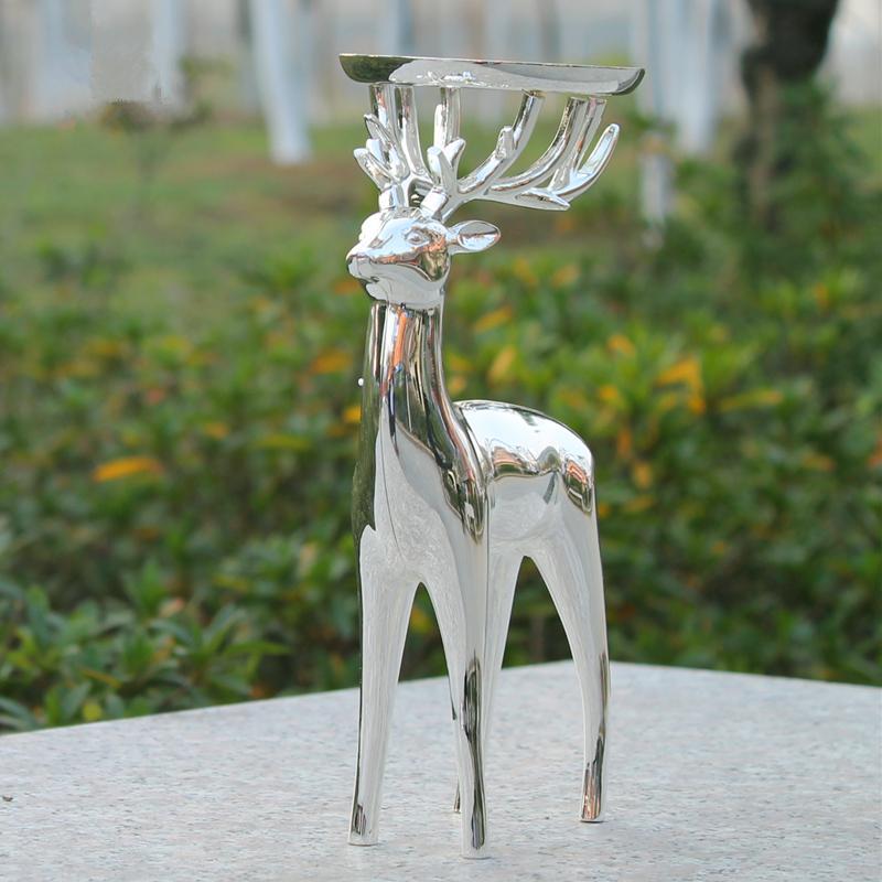 Chegada nova prata acabamento veados forma castiçal de metal, liga de zinco candelabro, carrinho de vela de casamento de moda