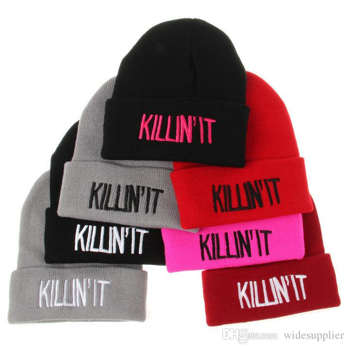 73013b14aad The Killin It Hip Hop Fashion Knit Hat Letter Three Dimensional Embroidery  Spoof Wool Hat Autumn And Winter Hat Men And Women Warm Hats Cap Knit Beanie  Cap ...