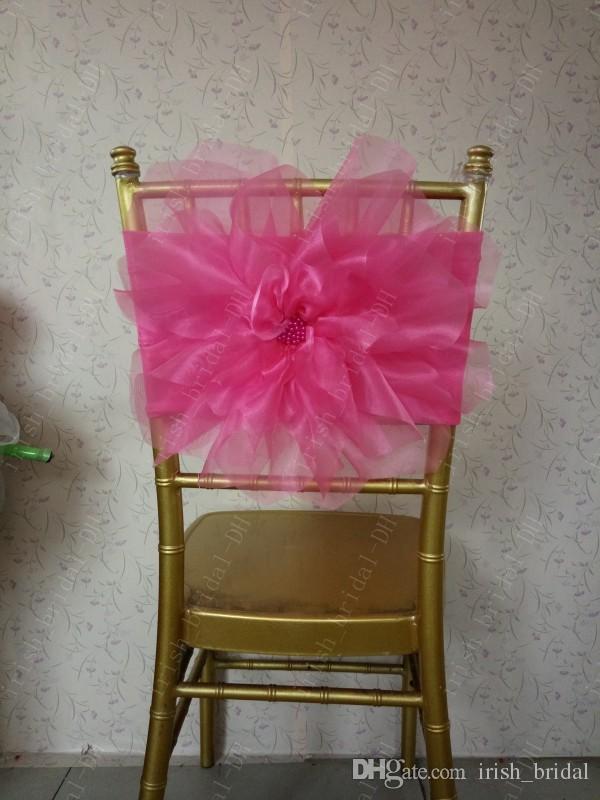 2016 por encargo 3D Flower Plum Chair Covers Organza romántica hermosa fajas de la silla silla de la boda barata decoraciones 0332