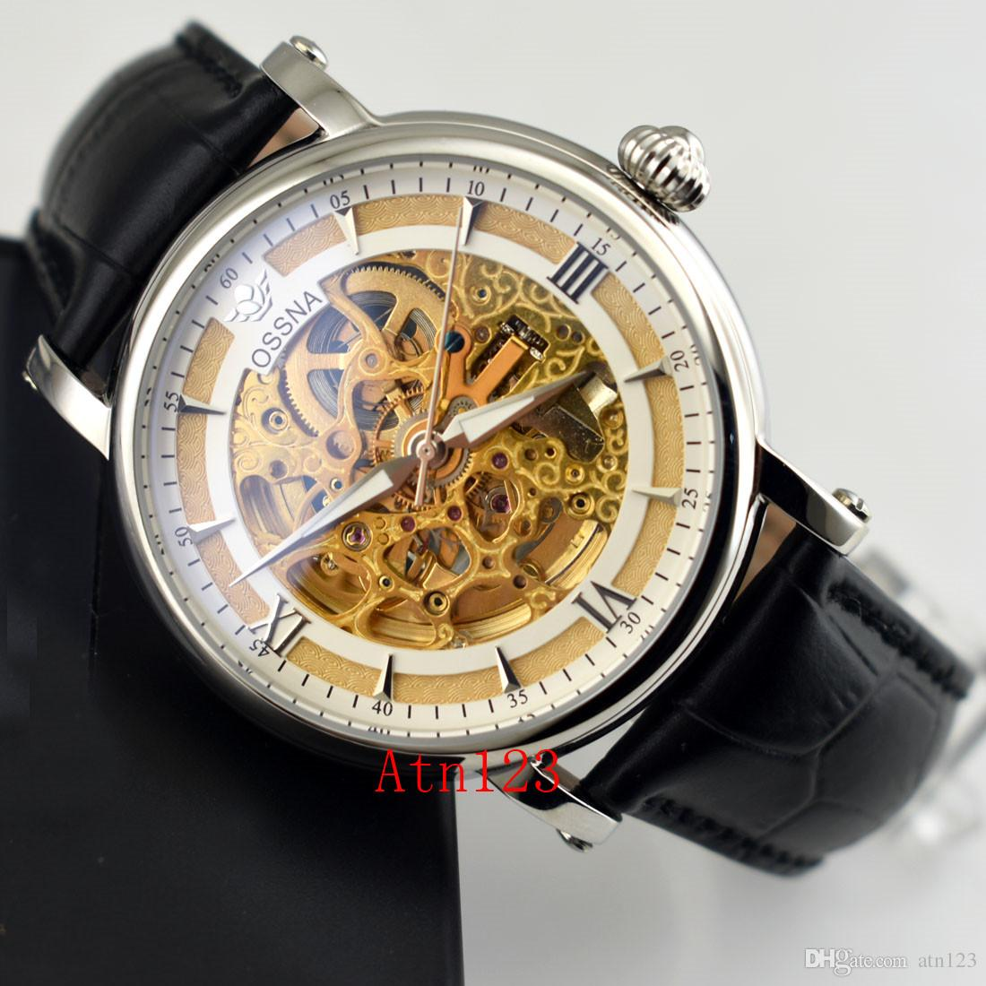 Ossna 41mm Hollow Skeleton Automatic Mechanical Date Day Stainless Steel Mens Watch 3ATM Water Resistantance Rating Wristwatch 2180/2181