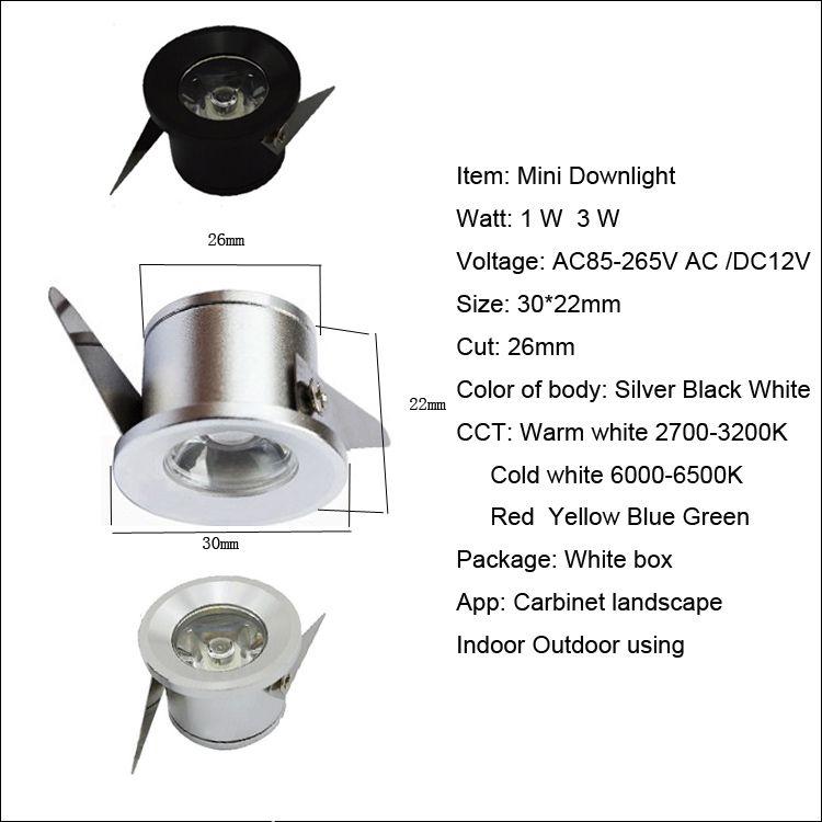 Carbinet chaud lumières LED downlights 1W 3W LED bureau maison éclairage intérieur mini encastré downlight LED haute puissance