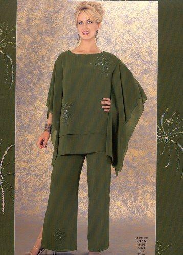 Olive Fashion Mother Pants Suits Cheap Plus Size Chiffon