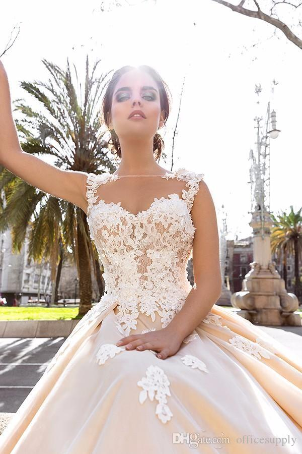 2018 Champagne Wedding Dresses Sheer Neck Applique Lace Corset Court Train Bridal Gowns Custom Made Cheap
