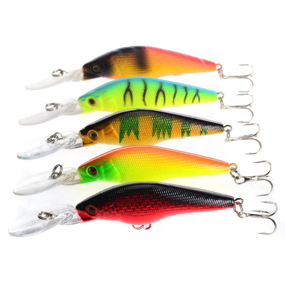 New Shallow Diving Minnow Fishing baitcasting Hooks 9cm 6.6g 3D Eyes Plastic Artificial lures for sea bass fishing