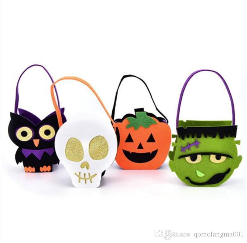 Halloween Pumpkin Owl Skull Zombie Bag Non Woven Bag Treat o Trick Candy Basket para la decoración de Halloween