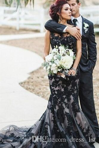 Vintage 2019 Black and Champagne Mermaid Wedding Dresses Gothic Sheer Neckline Lace Appliqued Long Bridal Gowns Custom Made EN82415