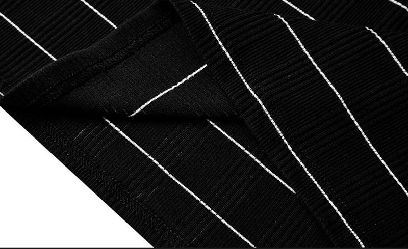 Striped Turtleneck Long Sleeve Men T-shirt Casual Male Slim Fit T Shirt Black White Tops Tees Couple Shirts