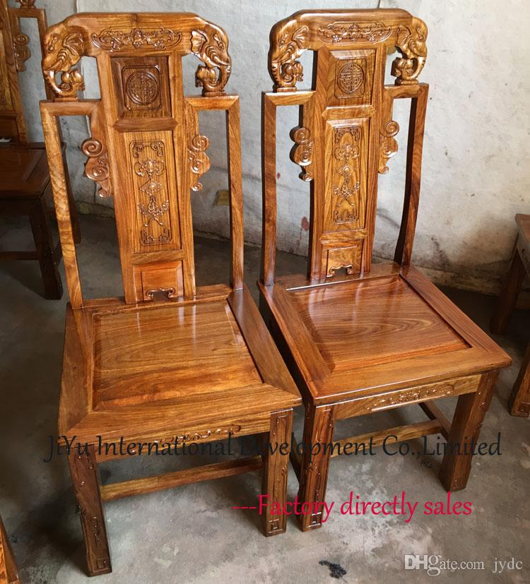 Kitchen dinner furniture Animal elephant carving home chairs 100% African Red sandalwood wood chairs dinner chairs in natural lacquer craft