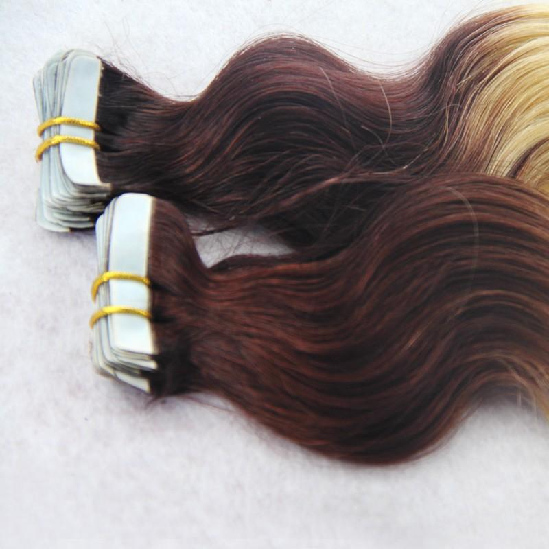 Body Wave Skin Weft Hair Extensions Two Tone Black/ Blonde Ombre Brazilian Hair Traight Double Sided Tape In Hair Extensions Ombre