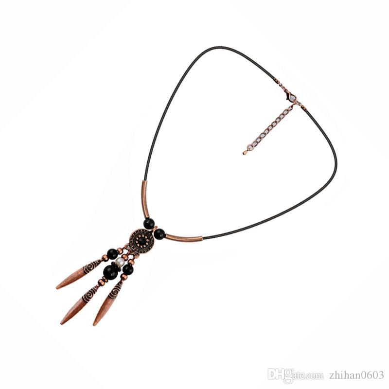 Collier de pendentif simple en bronze plaqué rétro suspendus usine de fer en tôle directe, livraison gratuite