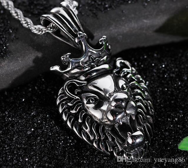 Fashion Casting Vintage Large Silver Stainless steel Biker crown Lion Head Pendants Necklace Men's Cool Jewelry Gift