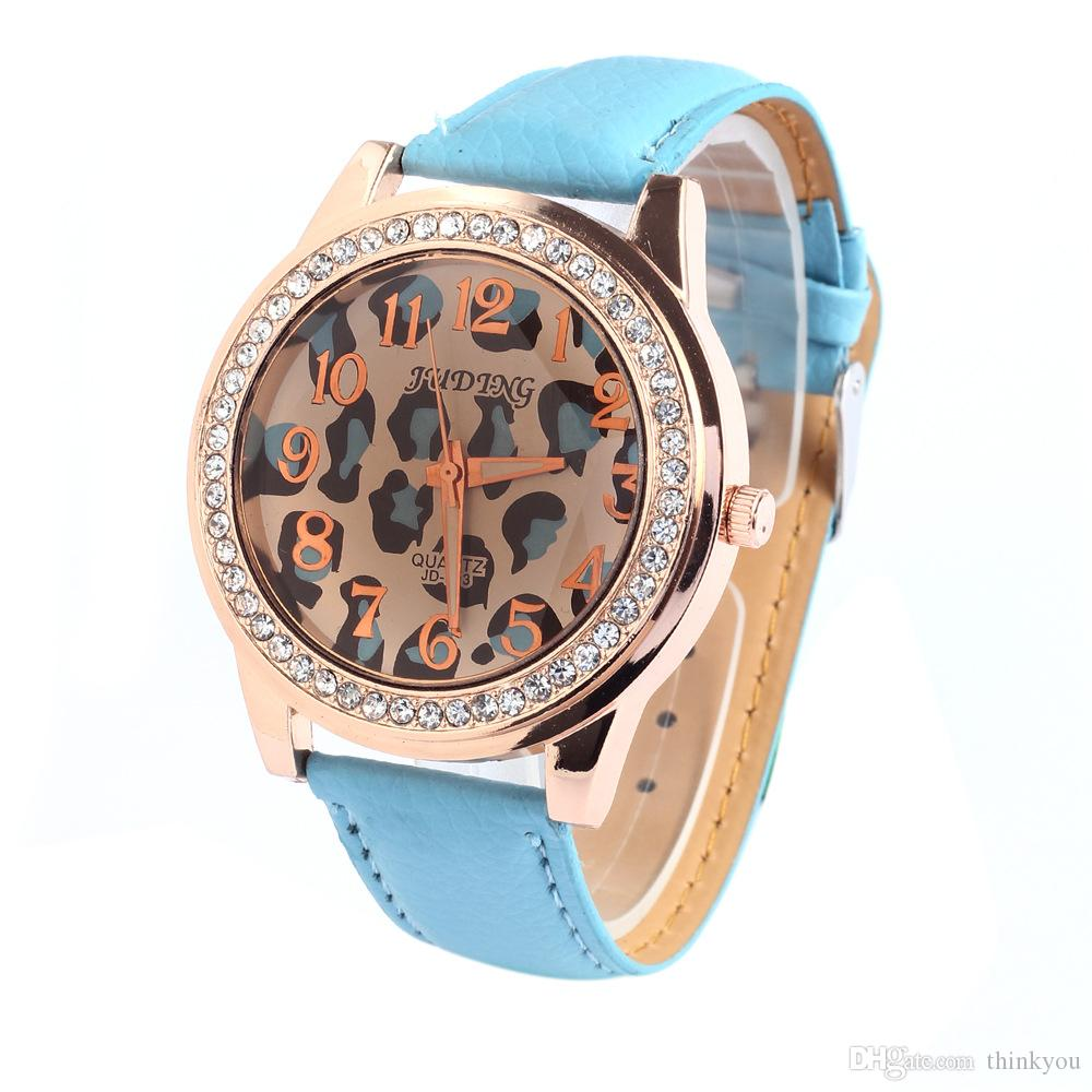 2016 New Arrival Fashion Crystal Watch for Woman Casual Round Dial PU Leather Band Analog Dress Watch