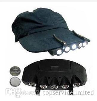 5 Leds Cap Hat Light Clip-On 5 LED Fishing Camping Head Light HeadLamp Cap with 2* CR2032 cell Batteries
