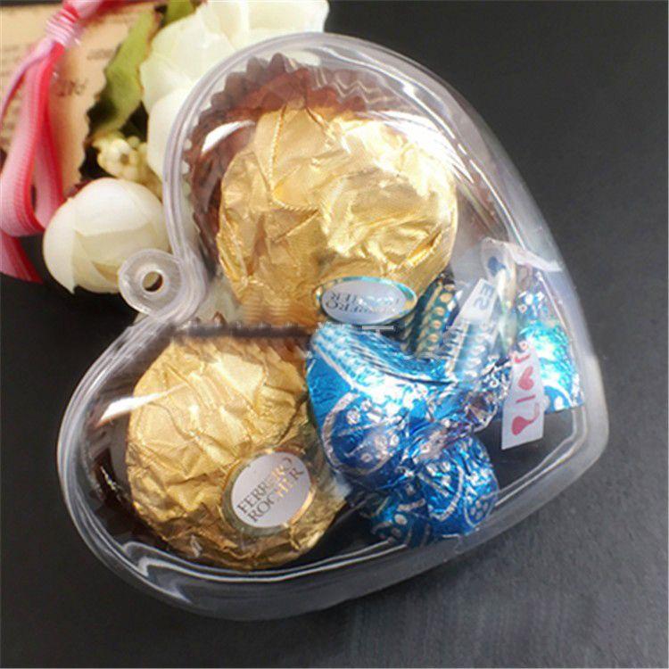 2016 Transparent Clear Candy Box Plastic Bauble Tree Ornament Wedding Party Décor Transparent Heart-Shaped Box Bridal Shower Decorations