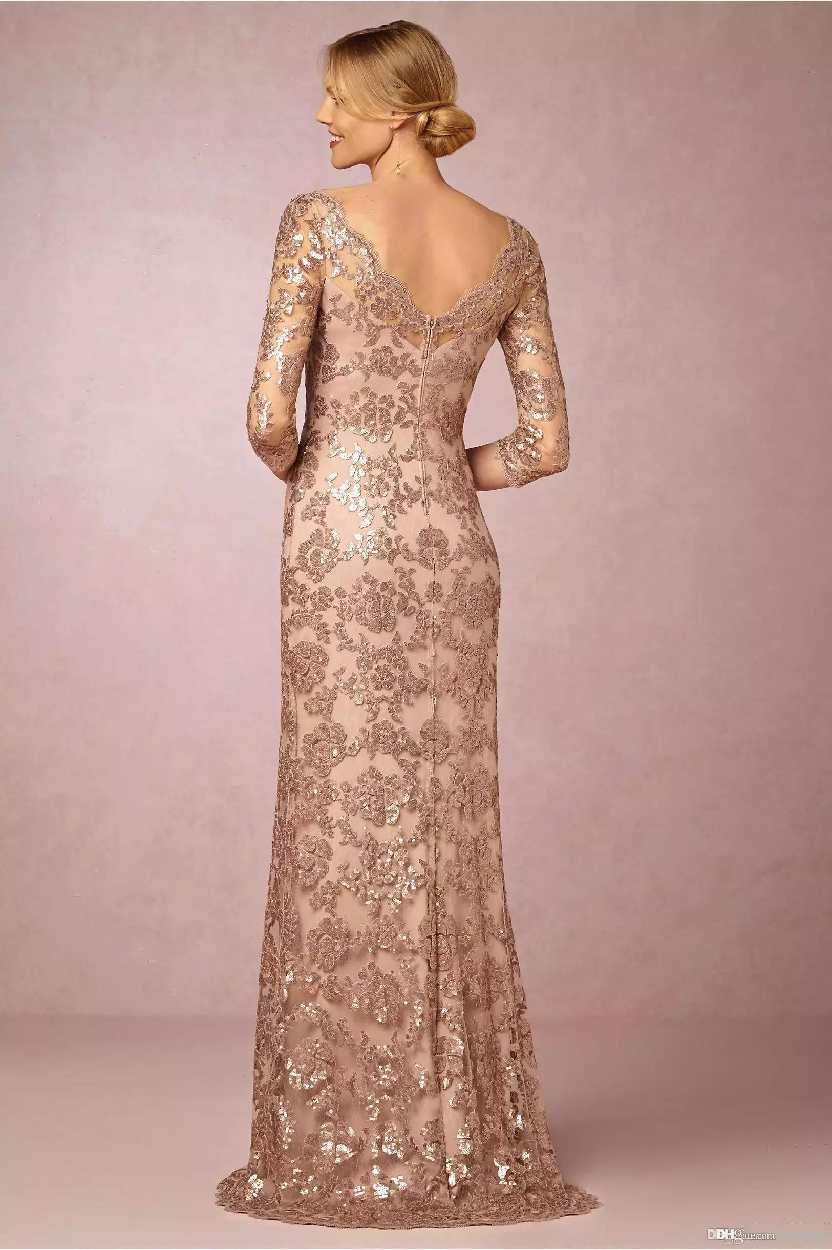 2018 Designer Elegant Rose Gold Sequins Appliqued Mother of the Bride Dresses Cheap Evening Party Dress Formal Wedding Guest Gowns
