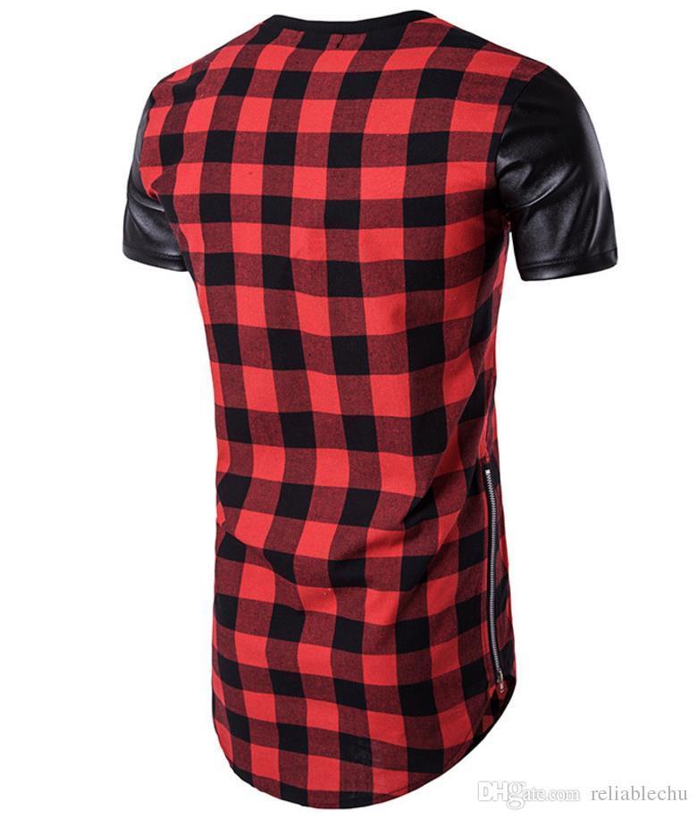 Plaid-T-Shirt Männer Patchwork PU-Leder-Kurzschluss-Hülse O Ansatz Double Side Zipper Arc Hem Slim Fit für Mann Sport-T-Shirt Geben Sie Schiff frei