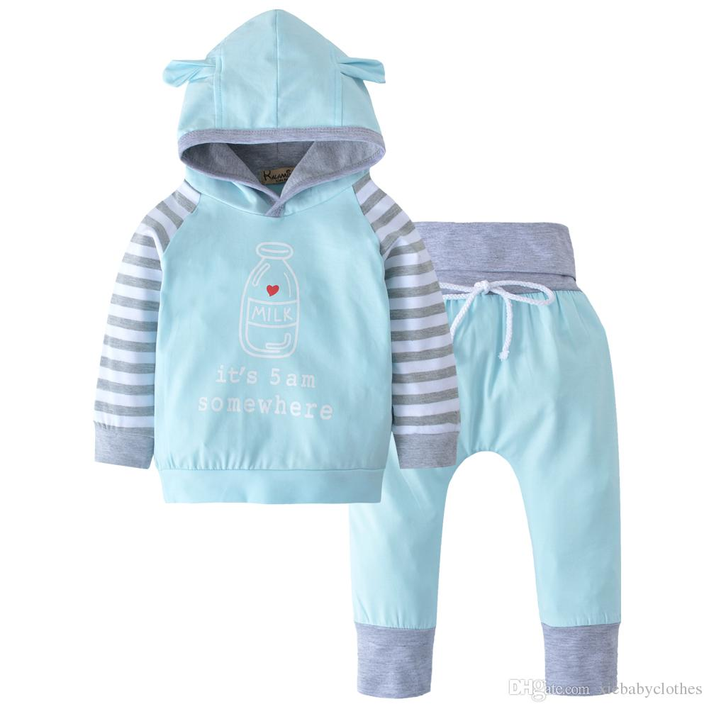 745dbd224 2019 Newborn Infant Baby Boys Girls Outfits Clothes Set Hoodies Tops ...