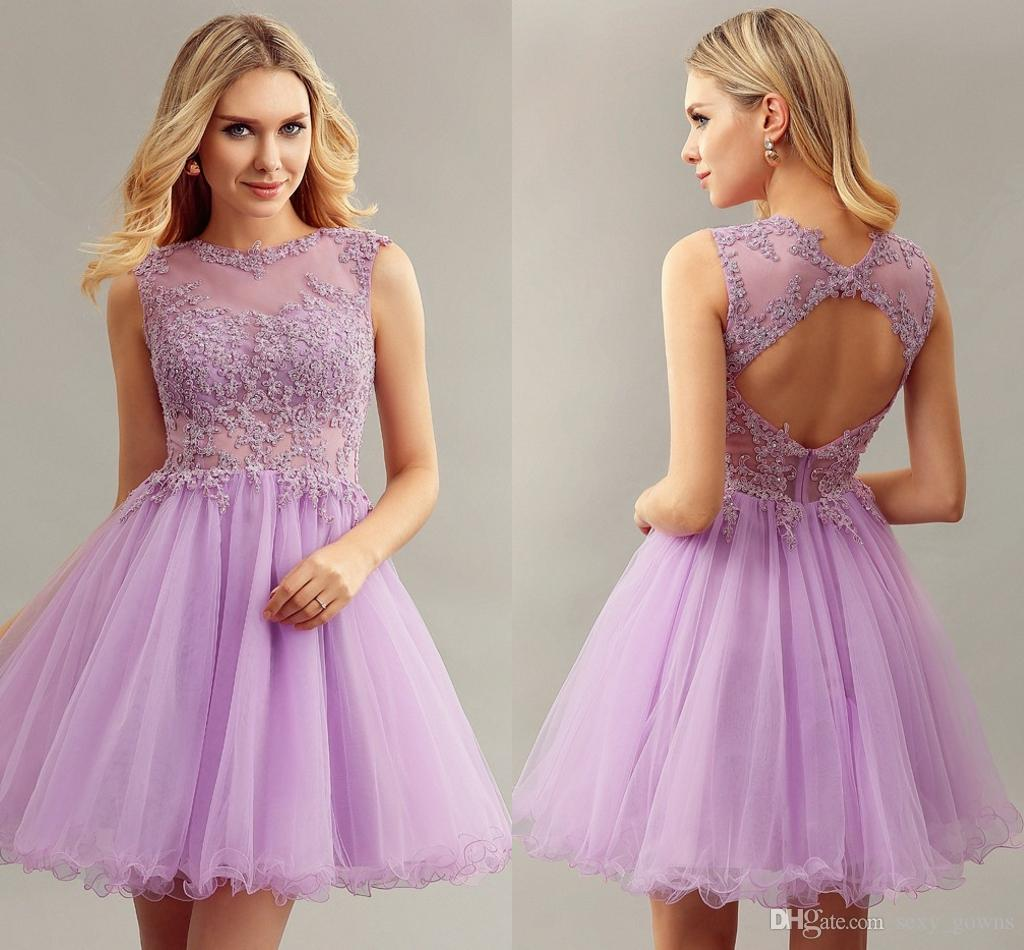 2016 New Girls Lilac Short Ball Gown Sleeveless Lace Appliques Sheer ...