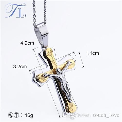 TL Necklace Pendant Brand Necklace Silver Gold Color Jewelry Antique Cross Crucifix Jesus Cross Pendant Necklaces For Women Men