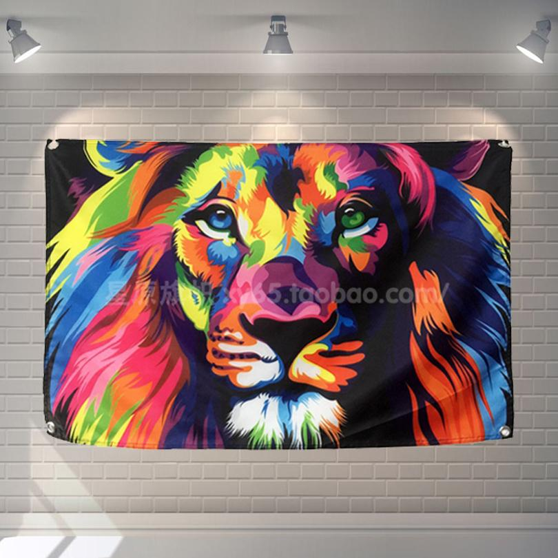 Pop Art Lion Rock Band Poster Scrolls Bar Cafes Restaurant Home Decoration  Banners Hanging Art Waterproof Cloth Decoration Polka Dot Wall Decals  Pretty Wall ... Part 63