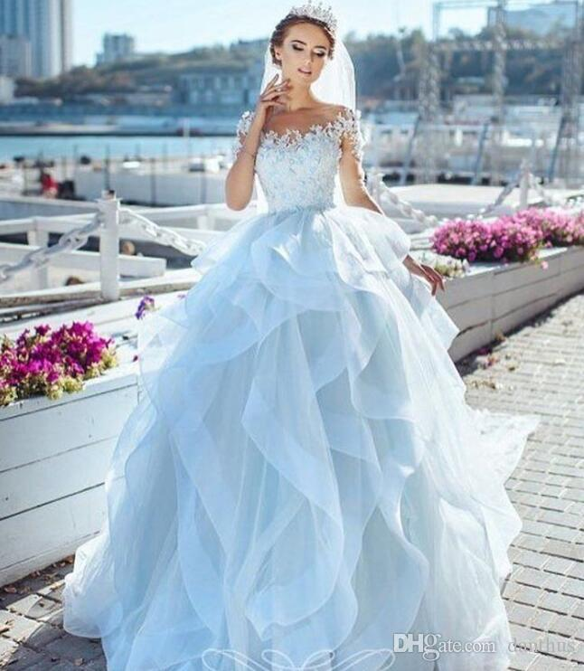 Lace Bridal Gown Appliqued Ball Gown Princess Wedding Dresses Plus ...