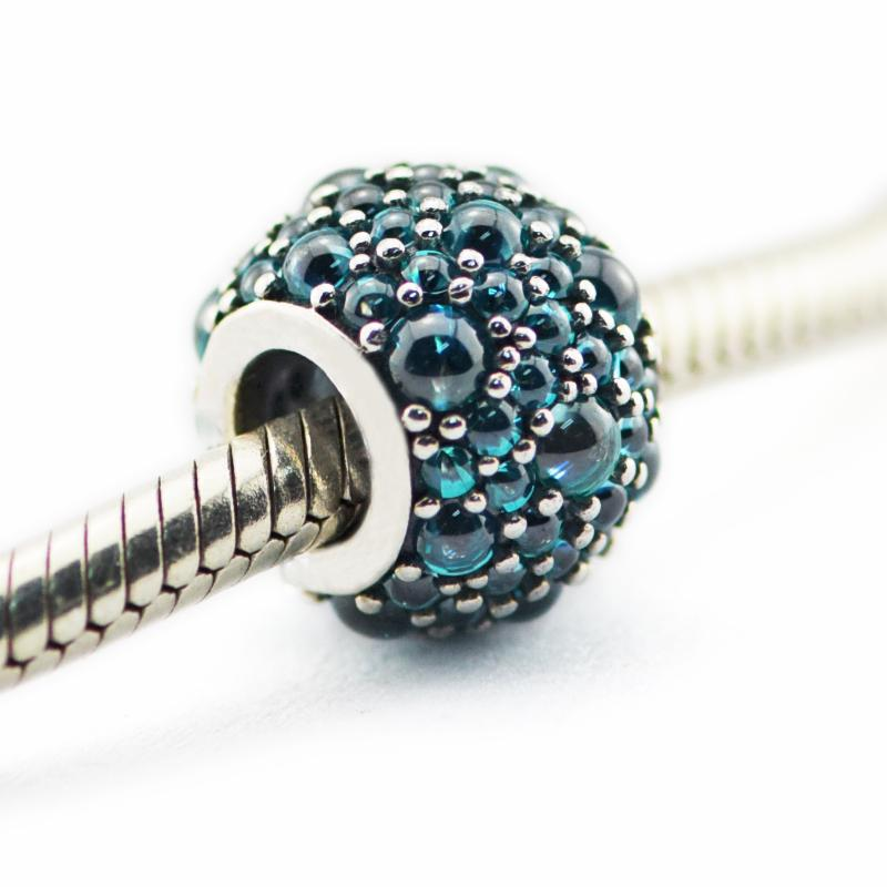 Loose beads 100% 925 sterling silver beads Teal Shimmer Droplet Charm Fits for Pandora Jewelry Bracelets diy charms 2016 NEW summer