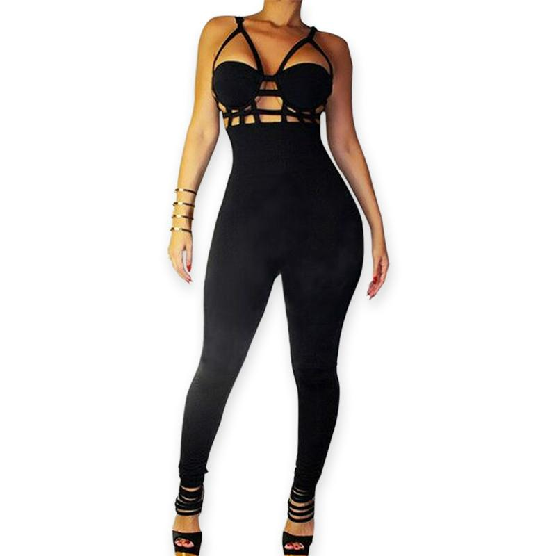 e8b2721596 2019 New Style Sexy Rompers Womens Jumpsuit Sexy Black Playsuit Club  Bodysuits Elegant Hollow Out Sleeveless Bandage White Jumpsuits Plus Size  From ...