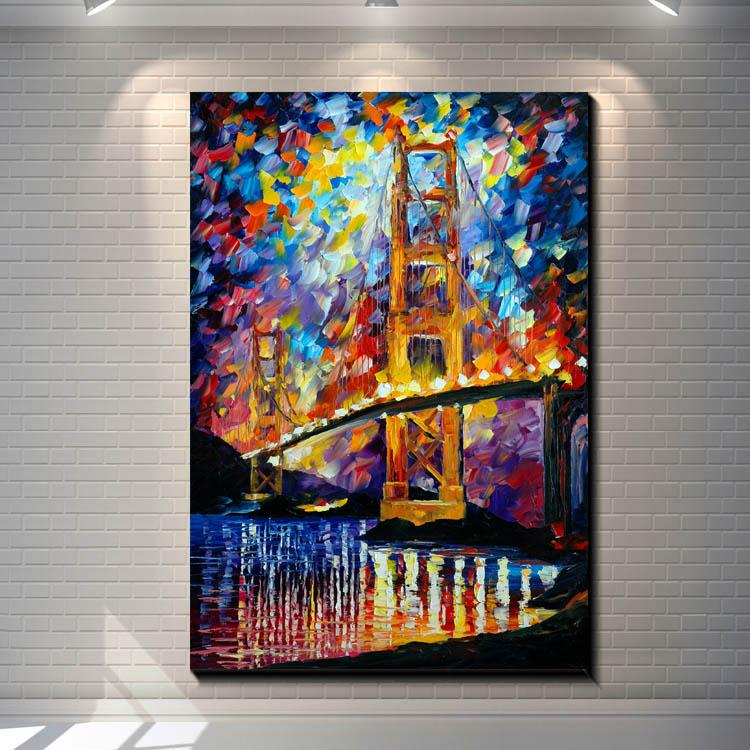 Vintage The Golden Gate Bridge Pictures Painting Canvas Poster Painting Prints Hotel Bar Garage Living Room Wall Home Art Decor Poster
