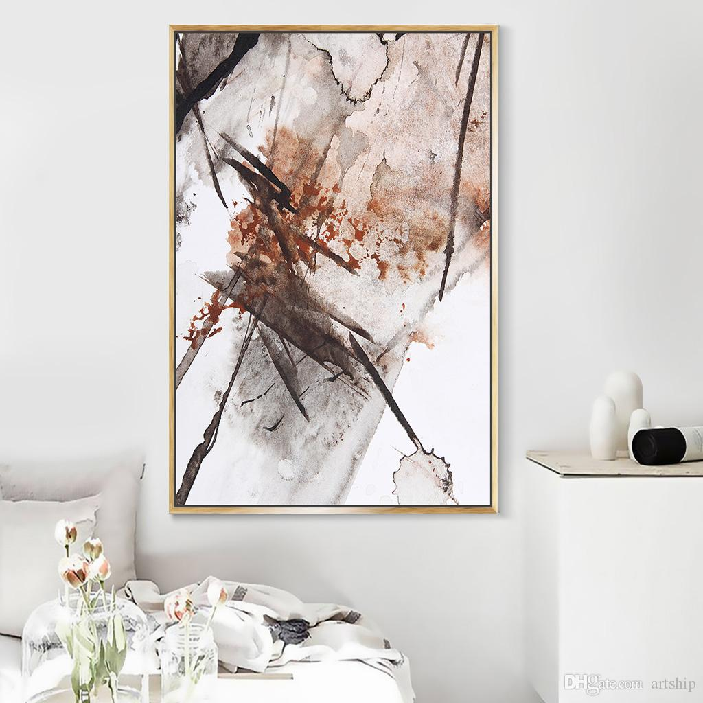 Compre Pintura Decorativa De Sala De Estar Popular N Rdica Sof De  -> Quadro De Parede Para Sala Abstrato
