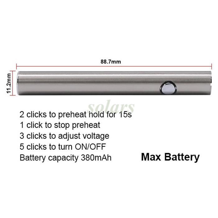 100% originale Amigo Max Preriscaldamento Batteria Oro 380 mAh 510 Tensione variabile Inferiore Ricarica USB Mod Vape Batteria Penna cartuccia Liberty