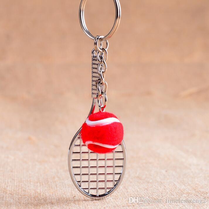 Raquete de tênis de prata com chaveiro bola Multicolor chave de bola de tênis anel Criativo fãs de tênis acessórios portáteis