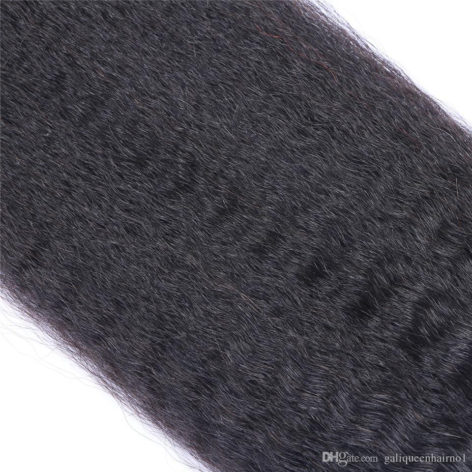 Malaisien Vierge Humain Cheveux Yaki Kinky Droit Non traité Cheveux Remy Teins Double Wefts 100g / Bundle 1Bundle / peut être teinté blanchi
