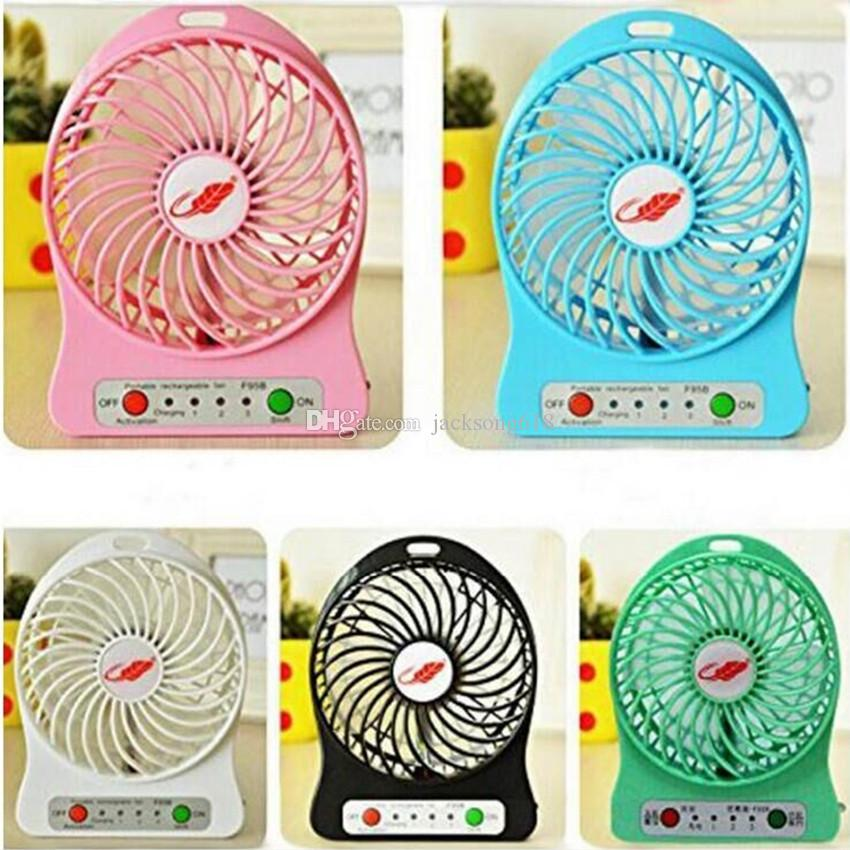 Mini Protable Fan F95B Multi functional USB Rechargerable Kids Table Fan LED Light 18650 Battery Adjustable 3 Speed Multi Color