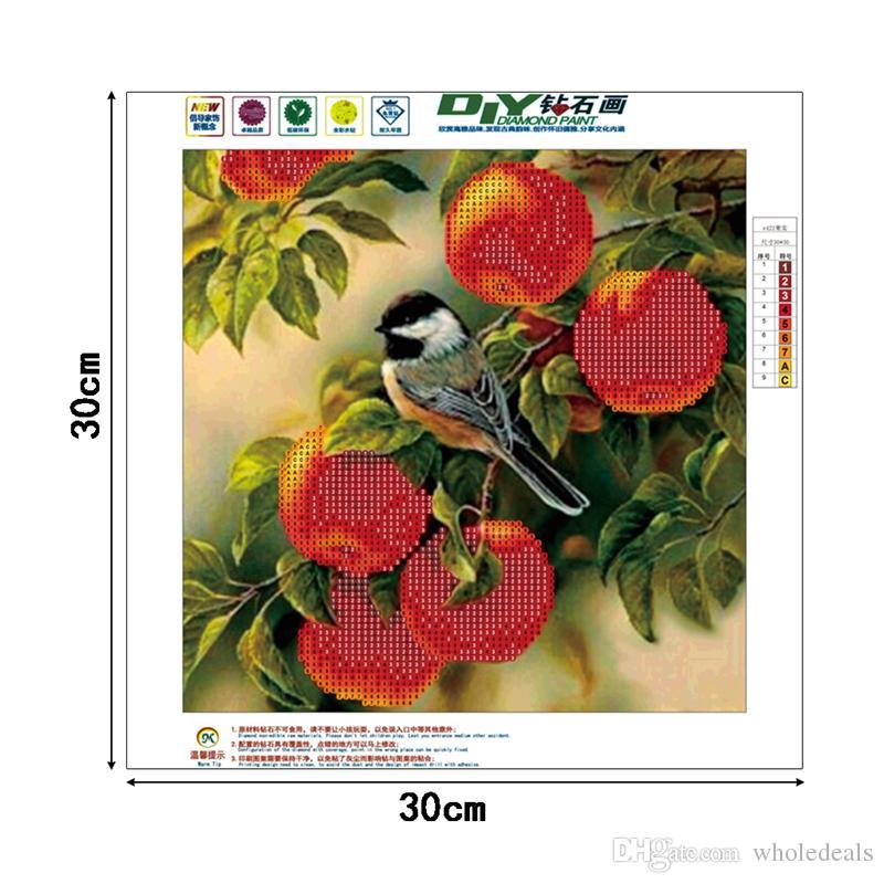 Diy 5d diamantes bordado manzano pájaro pintura diamante redondo kits de punto de cruz mosaico diamante decoración del hogar 30 * 30 cm